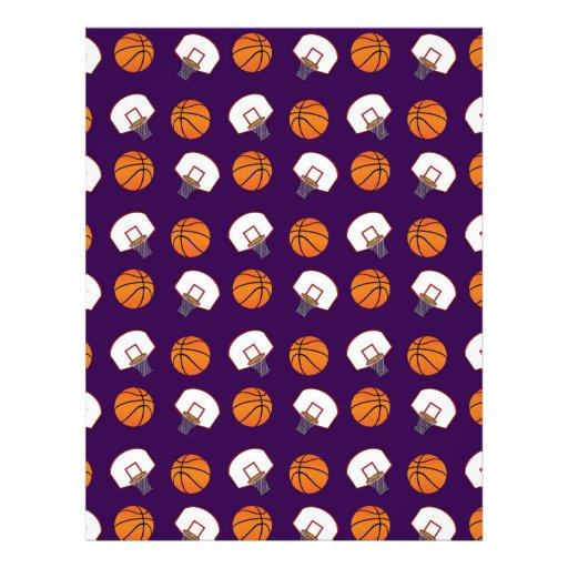 Purple basketballs and nets pattern personalized flyer