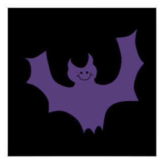 Purple Bat Cartoon Black Background Print