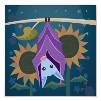 Purple Bat in Sunflower Field Square Art Print Photographic Print