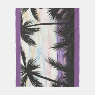 Purple Beach Sunset Fleece Blanket
