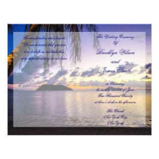 Purple Beach Wedding Ceremony Program Flyer