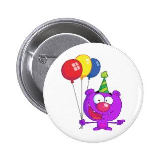 Purple bear wearing holding Birthday Balloons 6 Cm Round Badge