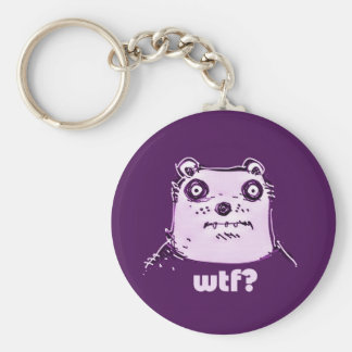 purple bear wtf basic round button key ring