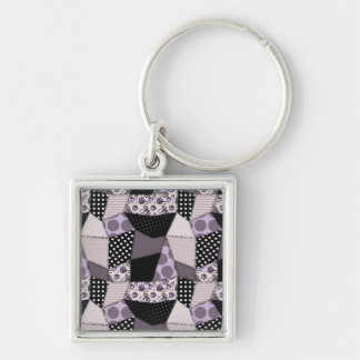 Purple Beautiful Country Patchwork Quilt Key Chain