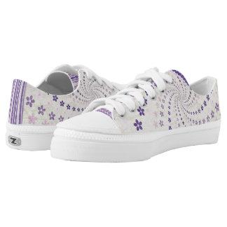Purple Beige Floral Starburst Low Tops
