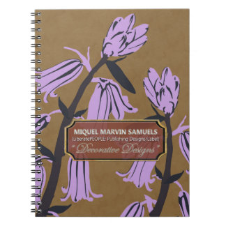 Purple Bell Blossoms Designer Brown Notebook