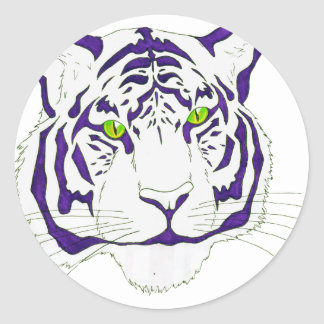 Purple Bengal Tiger Classic Round Sticker