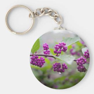Purple Berries Basic Round Button Key Ring