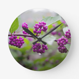 Purple Berries Round Clock