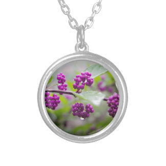 Purple Berries Silver Plated Necklace