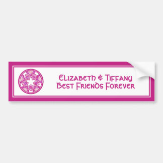 Purple Best Friends Floral Tiles Bumper Sticker