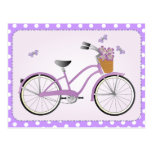 Purple Bicycle with Dots Postcard