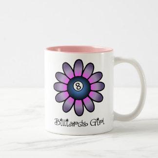 Purple Billiards Girl Two-Tone Coffee Mug