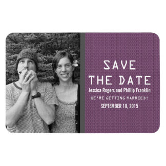 Purple Binary Code Photo Save the Date Magnet