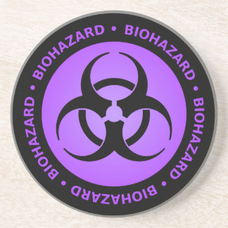 Purple Biohazard Warning Coaster