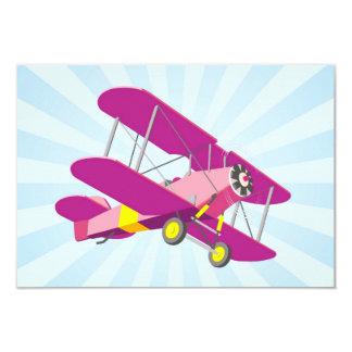 Purple Biplane Graphic with Blue Star Burst Personalized Invite
