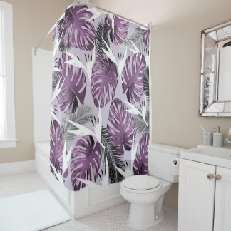 Purple Birds of Paradise shower curtain
