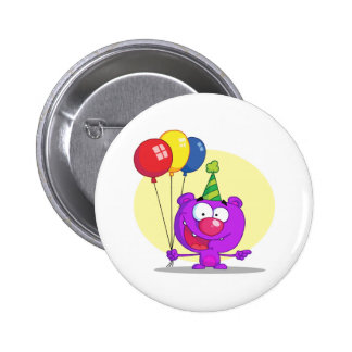 purple birthday balloons party bear 6 cm round badge