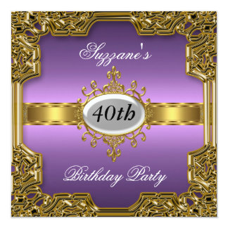 Purple Birthday Party Glamour Hot Invitation