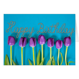 purple birthday tulips card