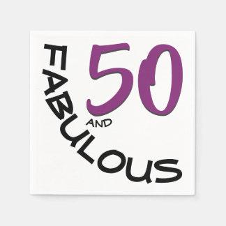 "Purple & Black ""50 and Fabulous"" Birthday Party Disposable Serviette"