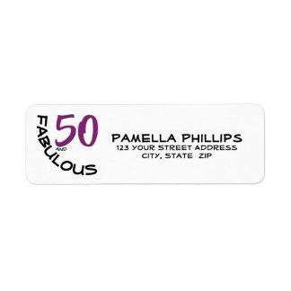 "Purple & Black ""50 and Fabulous"" Return Address Return Address Label"