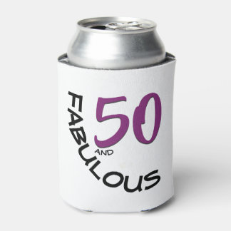 Purple & Black 50th Birthday Typography Can Cooler