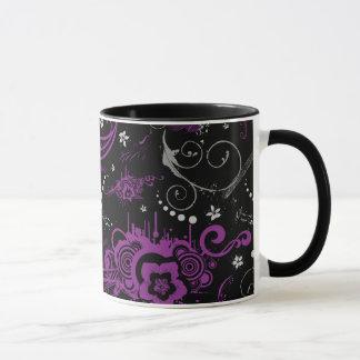 purple black abstract floral swirls coffee mug