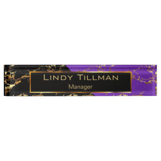 Purple, Black and Gold Marble Design Name Plate
