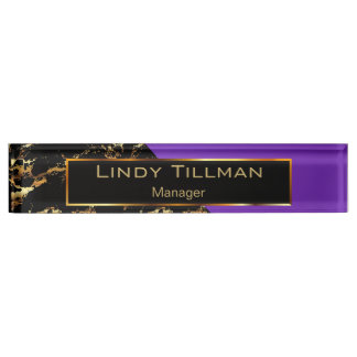 Purple, Black and Gold Marble Name Plate