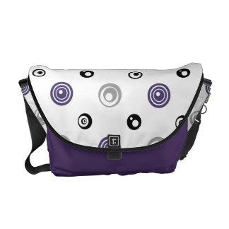 Purple, Black, and Gray Circles Messenger Bag