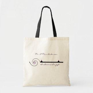 Purple, Black and White Bridesmaid Gift Budget Tote Bag