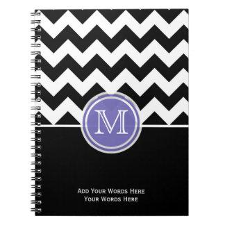 Purple Black And White Chevron Monogram Notebook