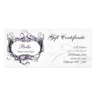 purple,black and white Chic Gift Certificates Customized Rack Card