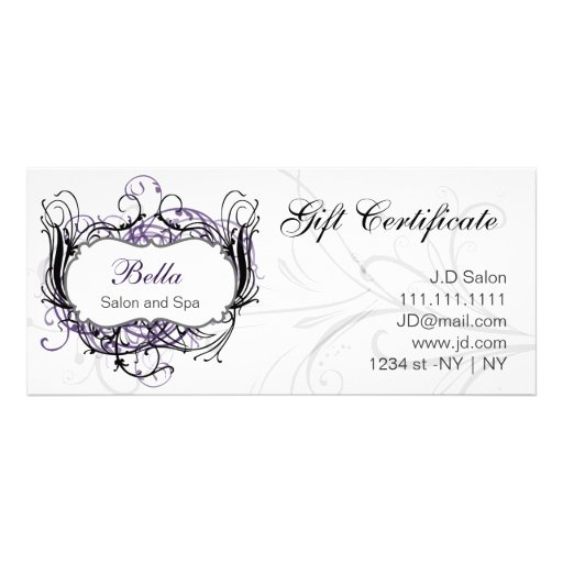 purple,black and white Chic Gift Certificates Rack Card Template