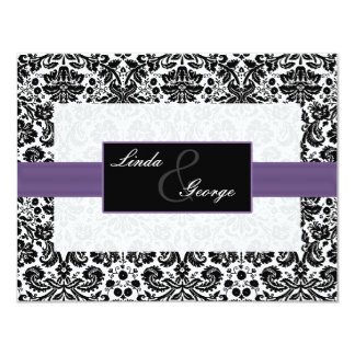 purple,black and white rsvp cards