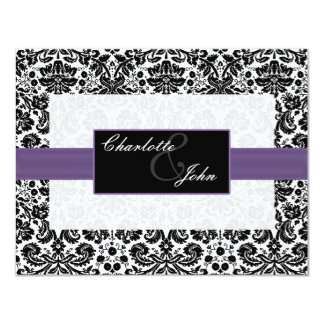 purple, black and white Save the date Card