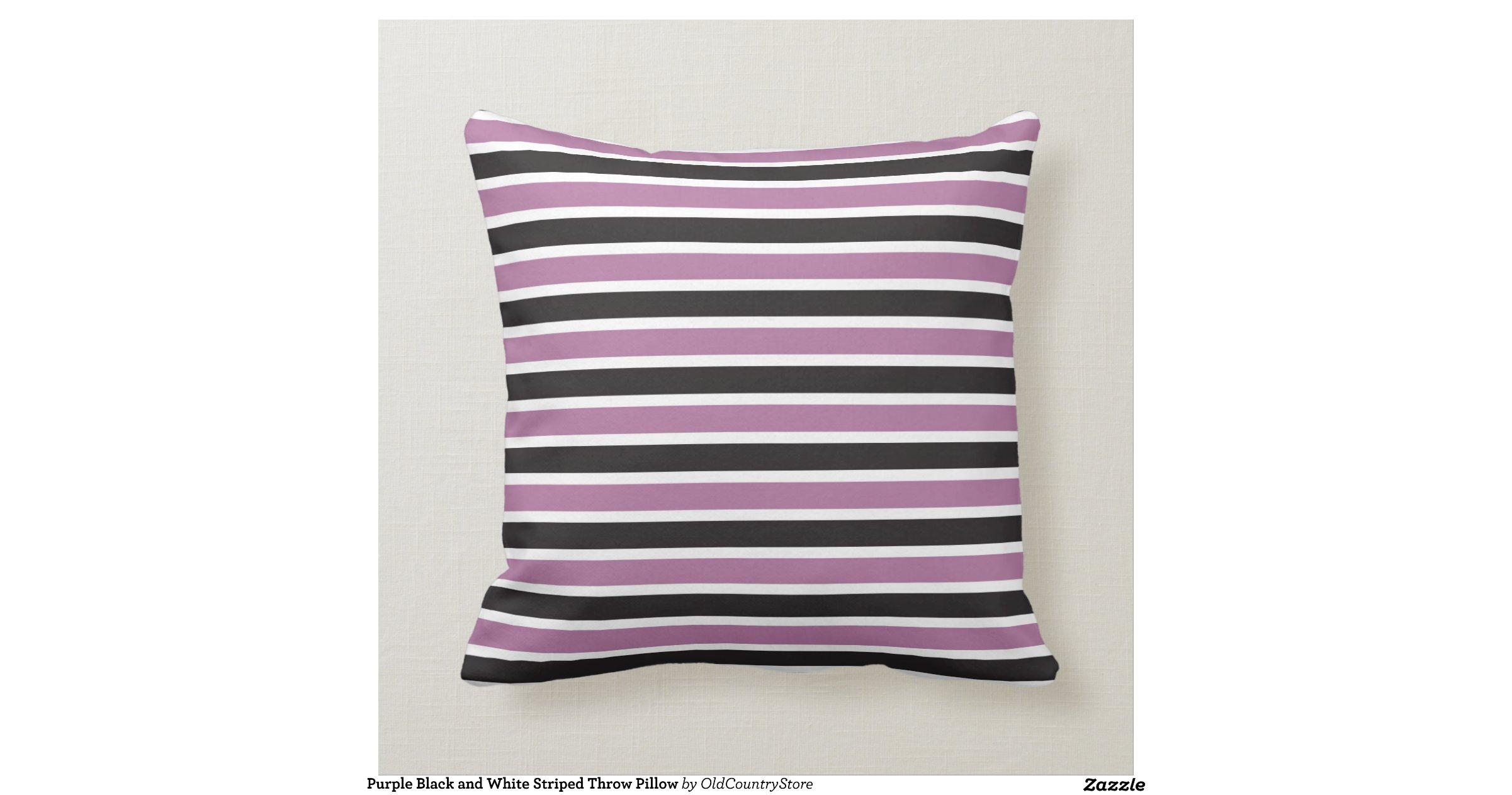 Purple Black And White Striped Throw Pillow Cushion Zazzle