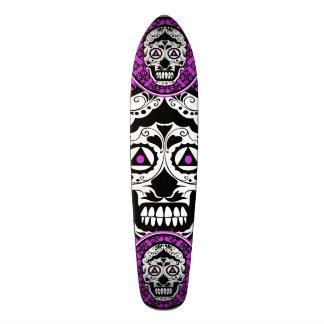 Purple Black and white sugar skull style design Skateboard Decks
