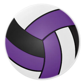 Purple, Black and White Volleyball Ceramic Knob