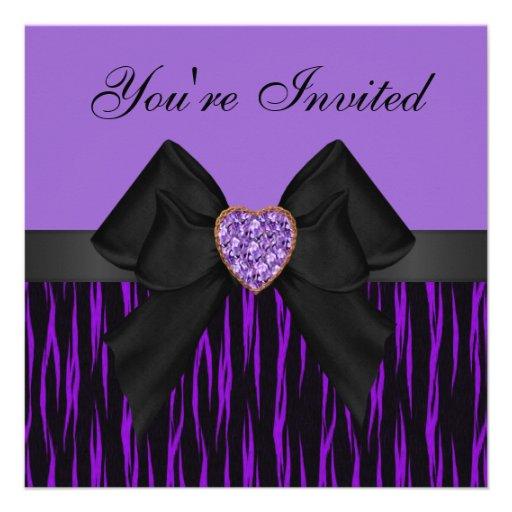 Purple & Black Animal Print Bow & Bling Invites