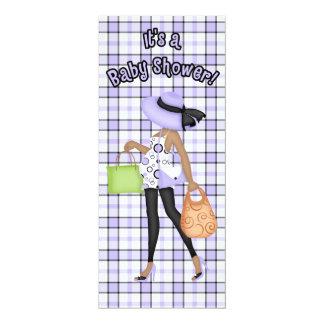 Purple & Black Baby Shower (dark skin version) 10 Cm X 24 Cm Invitation Card