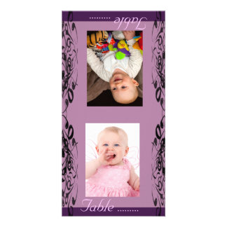 Purple & Black Bride & Groom Photo Table Card Photo Greeting Card