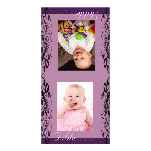 Purple & Black Bride & Groom Photo Table Card Custom Photo Card