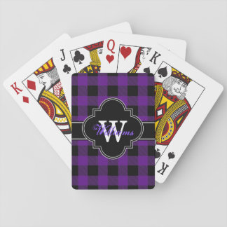 Purple Black Buffalo Check Plaid 1IQN Playing Cards
