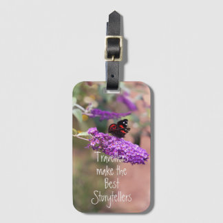 Purple Black Butterfly Photo Luggage Tag