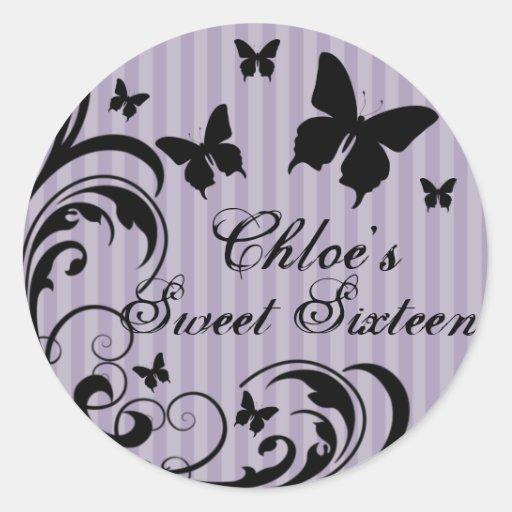 Purple & Black Butterfly Sweet 16 Sticker