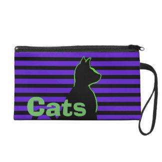 Purple Black Cat Street Art Style CricketDiane Wristlets