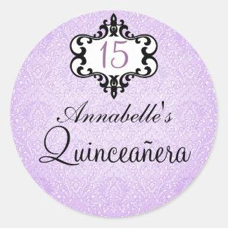 Purple & Black Chic Damask Quinceañera Sticker