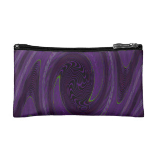 purple black circular abstract cosmetic bags